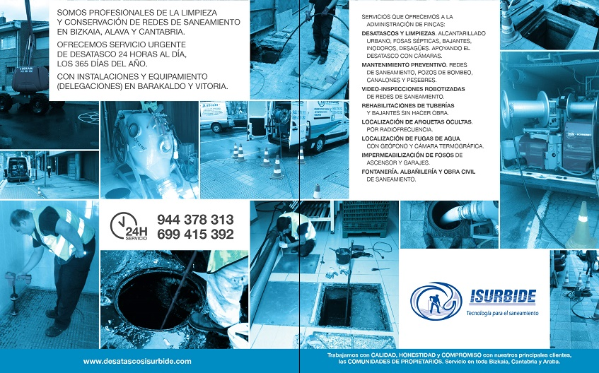 Servicio 24 h desatascos isurbide fontaneros y desatascos for Administradores de fincas vitoria